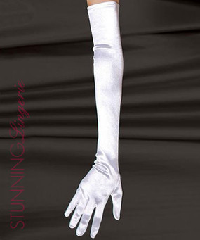 Marilyn Satin Gloves in White