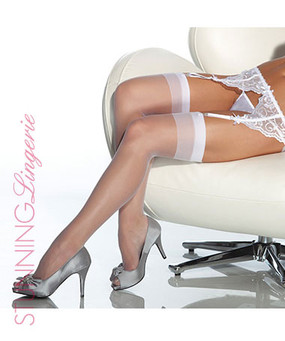 Halo Sheer Thigh High Stockings in White