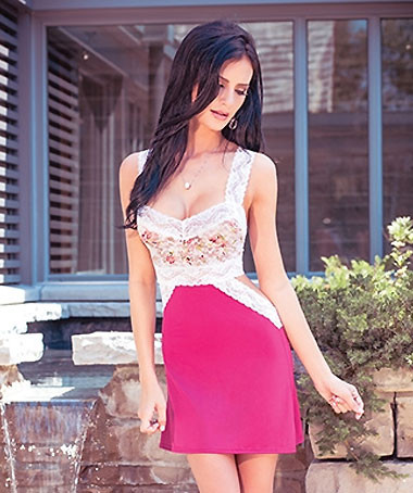 Raspberry Cut Out Chemise