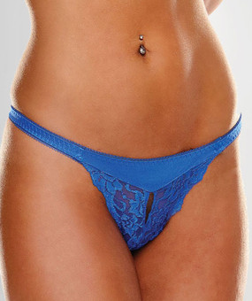 Zoey Crotchless Lace Gstring in Blue