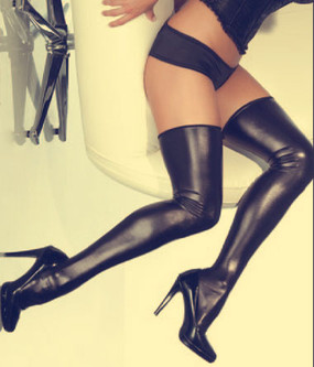 Gaga Thigh High Stockings in Black Wet Look