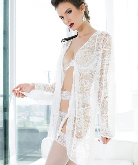 Bridal White Stretch Lace Robe
