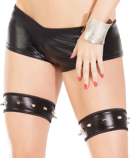 Black Wet Look Spikey Garters
