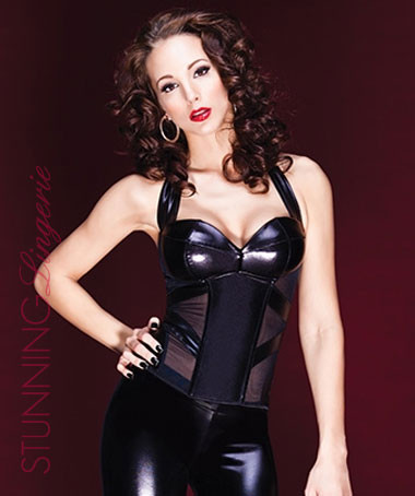 Rebellion Wetlook/Mesh Boned Bustier