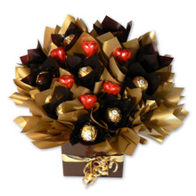 red heart gold ferrero chocolate bouquet