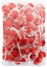 1kg small flat red lollipops