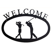 Wrought Iron Welcome Sign Golfers SM