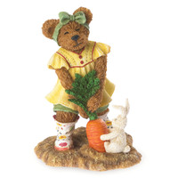 Boyd's Bears Sophie Sowinseed Figurine - Pulling carrots with little Bunny Hopper