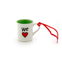 Personalizable We Heart mini mug ornament