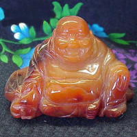 Agate Happy Sitting Buddha Statue