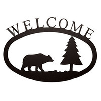 Bear & Pine Wrought Iron Welcome Sign - Large