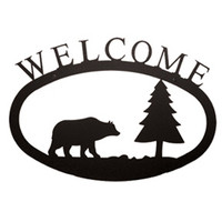 Bear & Pine Wrought Iron Welcome Sign Small