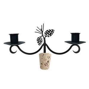 Wrought Iron Pinecone Wine Bottle Candle Topper