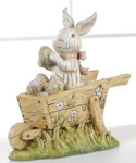 Easter Bunny Wheelbarrow Figurine by Roman