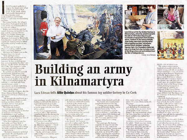 Corjk Examiner Article about Prince August Toy Soldier Factory