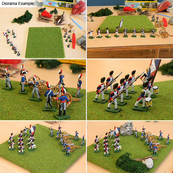 Square board diorama with napoleonic soldiers.