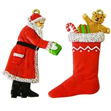 Santa Claus and Christmas Stocking painted.