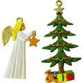 Angel and Christmas Tree Decoration painted.