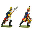 Painted examples of a Prussian Drummer and NCO.