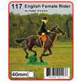 English Female rider label. This rider is riding side saddle so her legs are on the reverse side of the horse.