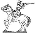 Cowboy riding horse firing backwards