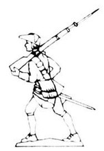 18th Century Musketeer rifle over shoulder