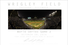 "For the first time, a night game of a World Series was  played at historic Wrigley Field on October 28, 2016. The game was between the Cleveland Indians and the Chicago Cubs. Richard Mack shot the third in his set of First Night Game events that night, and you may order the Fine Art Poster here. it comes in two sizes. 24x36"" and 20x24""."