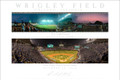From the series of First Night Games at Wrigley Field by photographer Richard Mack we proudly present a Fine Art Poster of both the First Official Night Game on August 9, 1988 and the First World Series Night Game on October 28, 2016. These historic games are finely represented here in these panoramic images shot by Richard in 1988 from a rooftop across from the field's left field foul pole and at the World Series from the upper deck are behind homeplate. These are Fine Art Prints on Epson Hot Press Bright paper with Epson Ultrachrome archival ink to Richard's exacting standards.