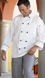 "Unisex ""Barcelona"" Chef Coat w/ Black Piping"