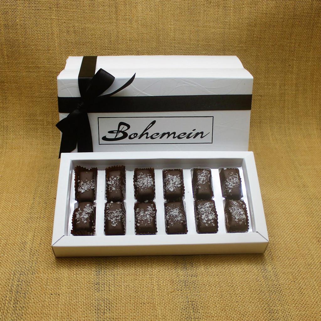 Bohemein 12  chocolate gift Box with 12 Award Winning Sea Salt Caramels.