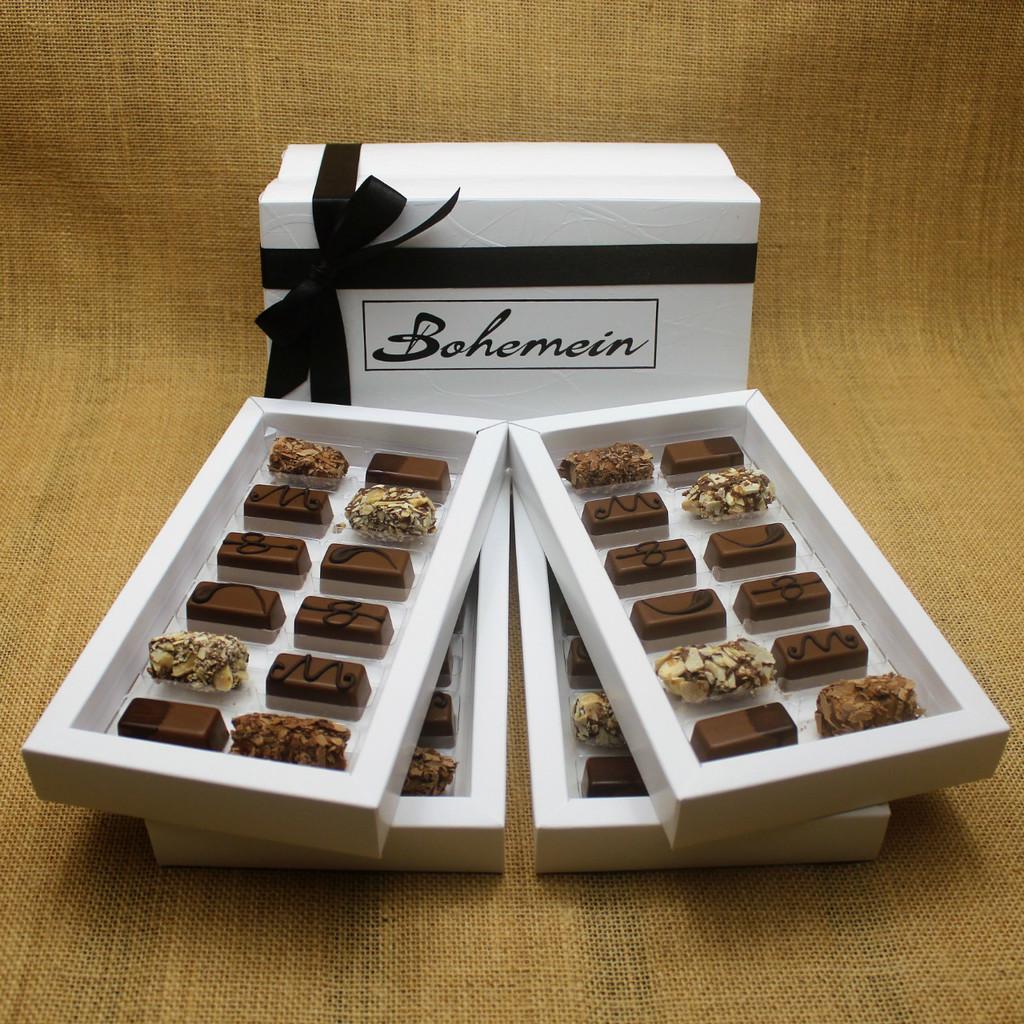 Bohemein 48  Milk Chocolates Gift Box includes: Chocolate Caramel x8, Amaretto Truffle x8, Cointreau Ganache x8, Vanilla Cream - Milk x8, Maple Cream x8,Coffee Truffle x8