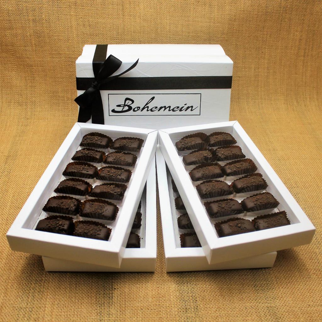 Bohemein 48 chocolate gift Box filled with 48  2014 Cuisine Artisan AWARD &  2014 NZ Food AWARD  Winning Cocoa Nib Caramels Only. (aka Black Devil Caramel)