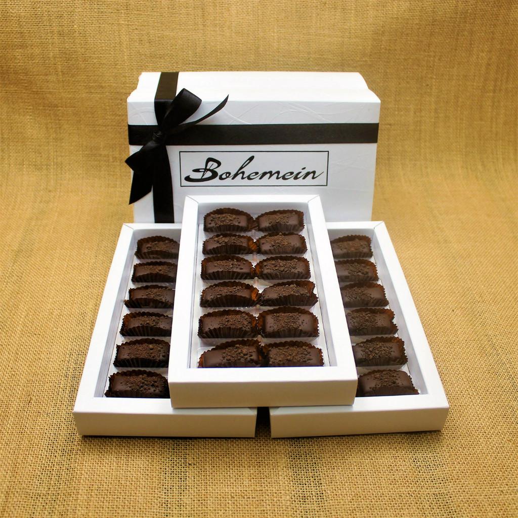 Bohemein 36 chocolate gift Box filled with 36 2014 Cuisine Artisan AWARD &  2014 NZ Food AWARD  Winning Cocoa Nib Caramels Only. (aka Black Devil Caramel)