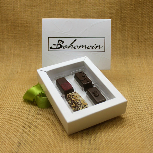 Bohemein 4 Dairy Free Chocolates Gift Box Includes: Raspberry Ganache, Ginger Caramel, Coconut Cream Truffle and Creme de Menthe Fondant.