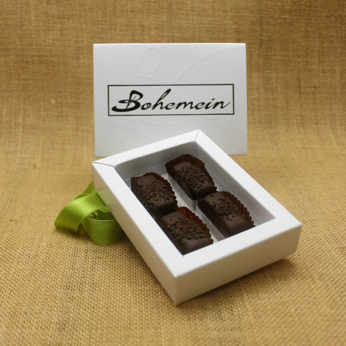 Bohemein 4 chocolate gift Box filled with 4 2014 Cuisine Artisan AWARD &  2014 NZ Food AWARD  Winning Cocoa Nib Caramels Only. (aka Black Devil Caramel)