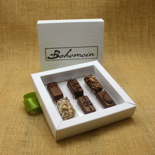 Bohemein 6 Milk Chocolates Gift Box includes: Chocolate Caramel, Maple Cream, Coffee Truffle, Amaretto Truffle,  Vanilla Cream Milk, Cointreau Ganache.
