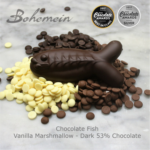 Award Winning Bohemein Chocolate Fish swimming in Chocolate - Is batch made with fresh fluffy Vanilla marshmallow and lots of 53% dark chocolate.  The snap of the chocolate, and the light marshmallow inside makes it a great treat or reward.  Share me if you dare.