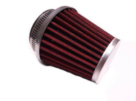 48mm Red and Chrome Metal Mesh Air Filter K&N Style