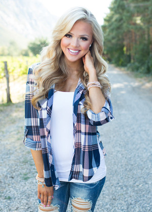 Ready or Not Plaid Top Navy CLEARANCE