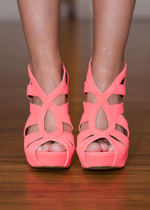 Guileless and Gorgeous Heels Coral CLEARANCE