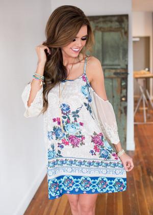Open Shoulder Floral Dress Blue