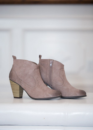 Oh Happy Day Suede Booties Taupe  CLEARANCE