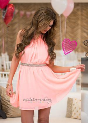 Valentine's Sweetheart Dress Neon Pink