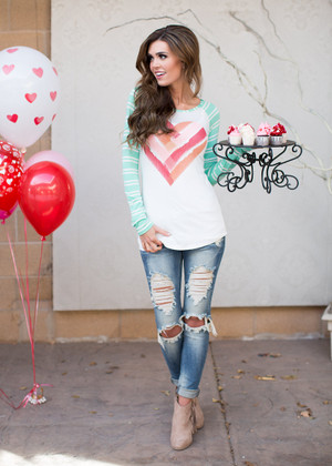 My Woven Heart Top Ivory/Mint Sleeves