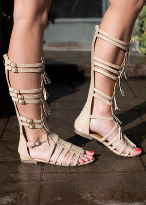 Legendary Gladiator Sandals Beige CLEARANCE