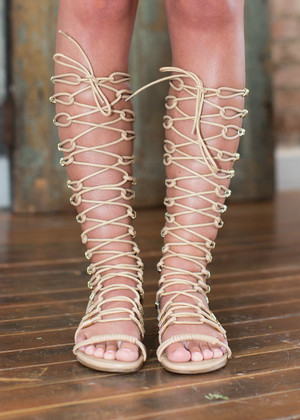 A Sip of Summer Gladiator Sandals Beige CLEARANCE