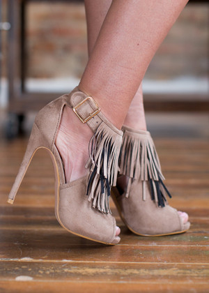 It Takes Two to Tango Fringe Heels Beige CLEARANCE