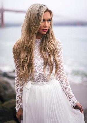 Enchanted Design Lace Bodysuit Top White
