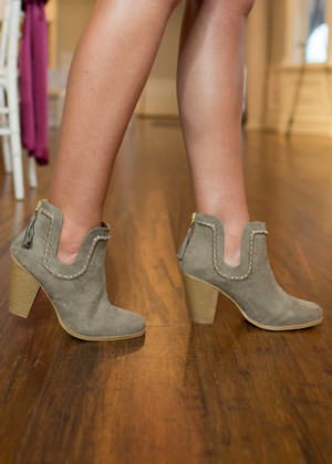 Just My Type Dip Suede Booties Taupe