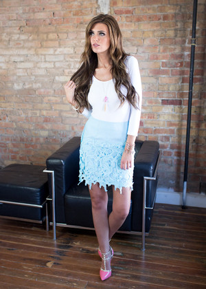 Pieces of Me Lace Floral Skirt Blue CLEARANCE